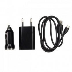 Chargeur 3 en 1 Secteur / Voiture / USB Pour Wiko Highway / 4G / Signs