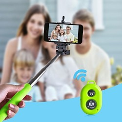 Perche Télescopique Selfie télécommande Bluetooth Vert