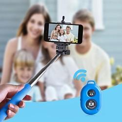 Perche Télescopique Selfie télécommande Bluetooth Bleu