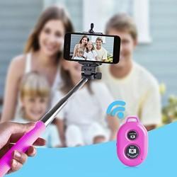 Perche Télescopique Selfie télécommande Bluetooth Rose